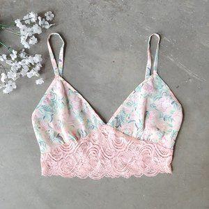 Victoria's Secret Pink Floral Lace Cami Bralette S